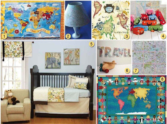 Attirant Map Decor Kids Room
