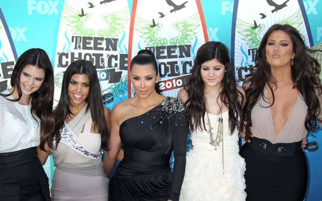 Kourtney Kardashian, grey dress, Kim Kardashian black dress, Khloe Kardashian, tan dress, black skirt