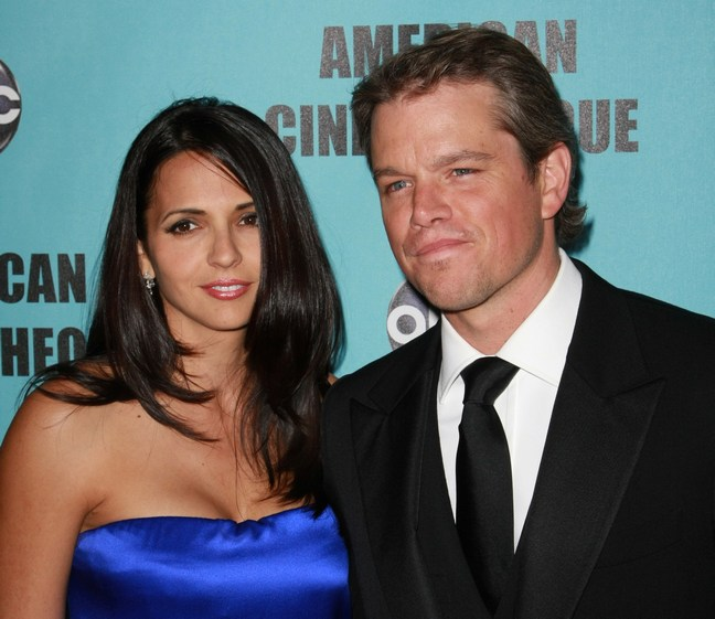 Matt Damon, Black suit, Luciana Barroso Damon, Blue dress, strapless satin dress, earrings