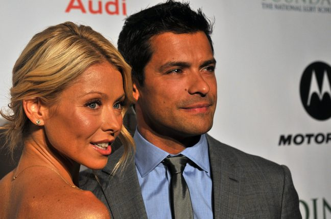 Kelly Ripa, Mark Consuelos, grey suit, blue shirt, tie, strapless dress