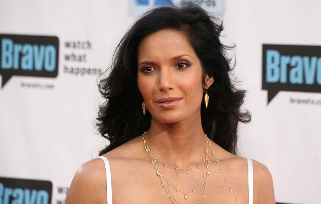 Padma lakshmi, white spaghetti strap dress