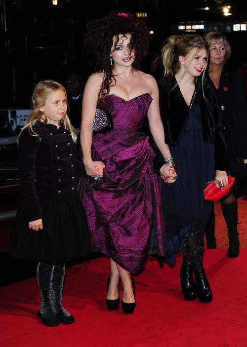 helena bonham carter, purple dress, black heels