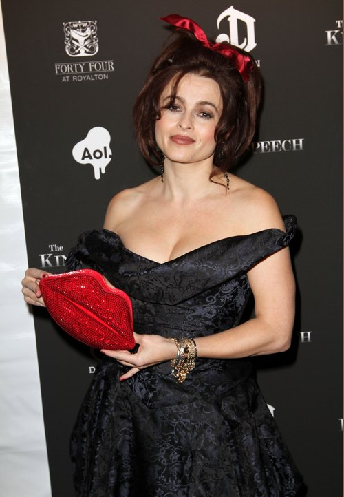 Helena bonham carter, red bow, black dress, red lips clutch