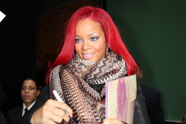 Rihanna, red hair, print scarf, black jacket