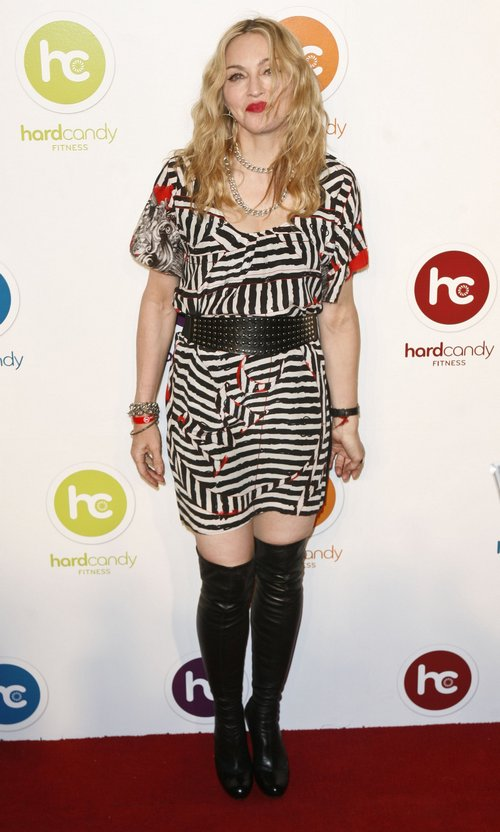 Madonna, white and black print dress, black boots