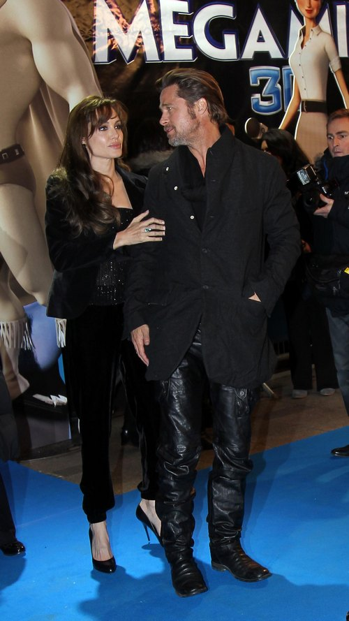 brad pitt, black leather pants, black jacket, Angelina Jolie, black jacket, velour tank top