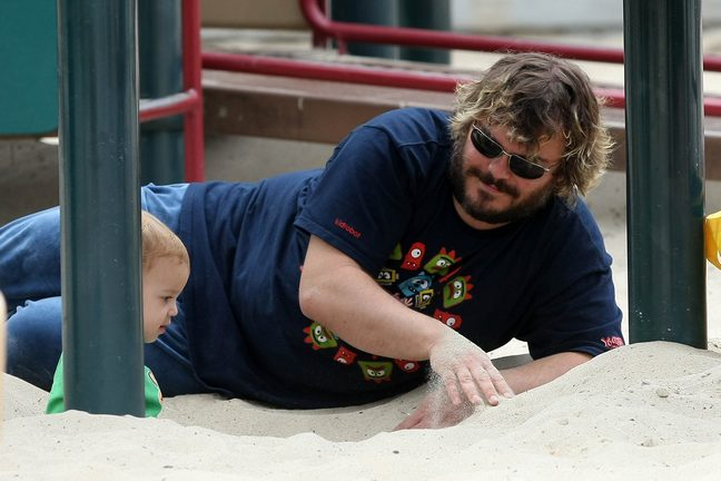 Jack Black t-shirt, blue shirt, sand