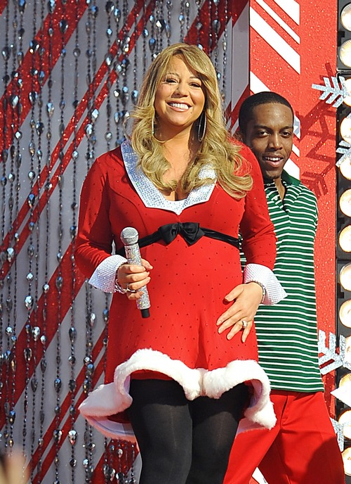 mariah carey, red santa dress, red christmas dress