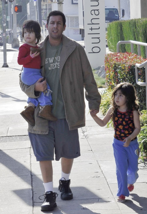 Adam Sandler, gray shorts, tan jacket, adam sandler girls