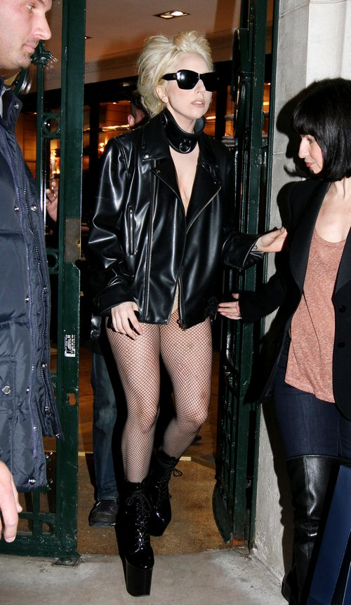 Lady Gaga, leather jacket, fishnets, sunglasses, lingerie