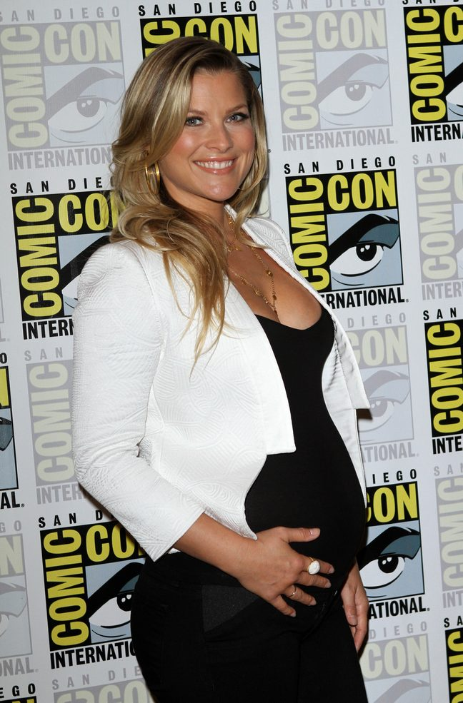Ali Larter white jacket black maternity dress
