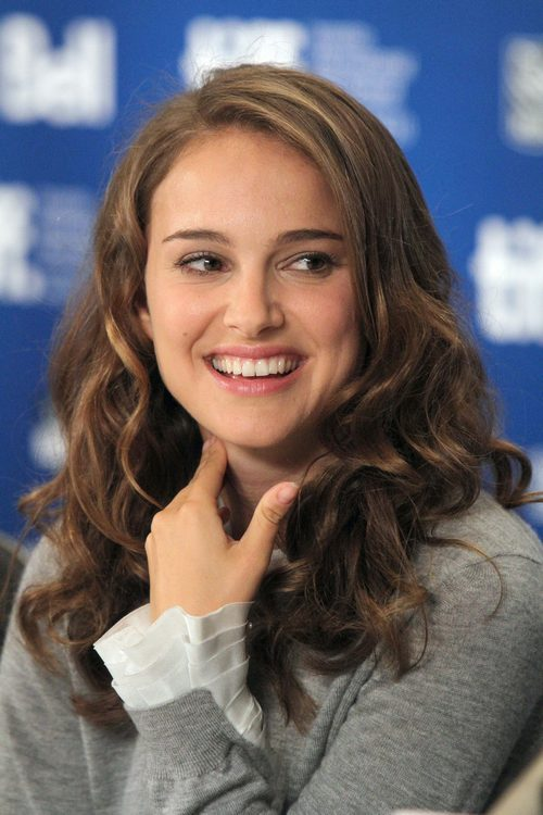 Natalie Portman, gray sweater, white blouse