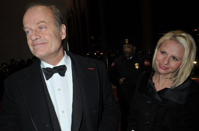 Kelsey Grammer, black tuxedo, Kayte Walsh, black dress