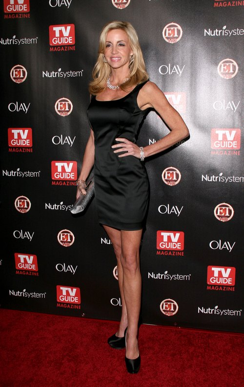 Camille Grammer, black silk dress