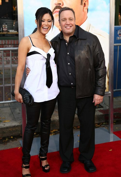 Kevin James, black suit, Steffania de la Cruz