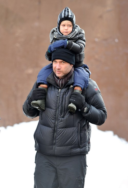 Liev Schreiber winter coat, black coat, knit hat