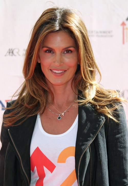 Cindy Crawford black leather jacket, t-shirt