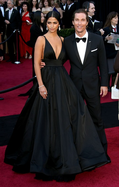 Matthew McConaughey and Camila Alves, tuxedo, black dress, black Kaufman Franco dress