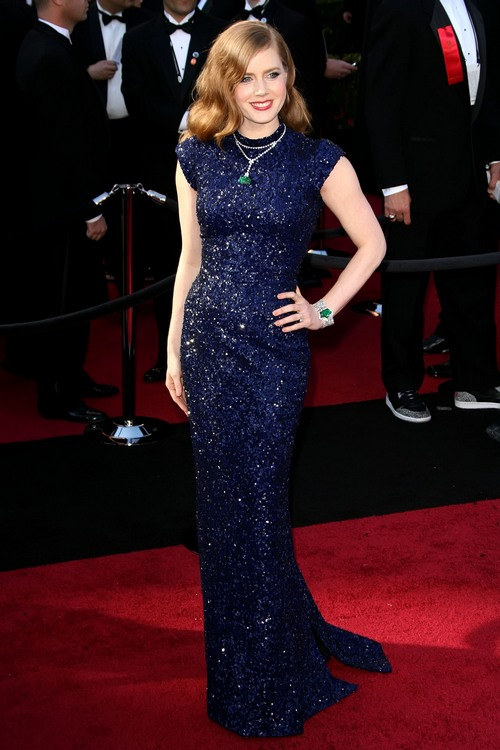 Amy Adams navy blue gown oscars