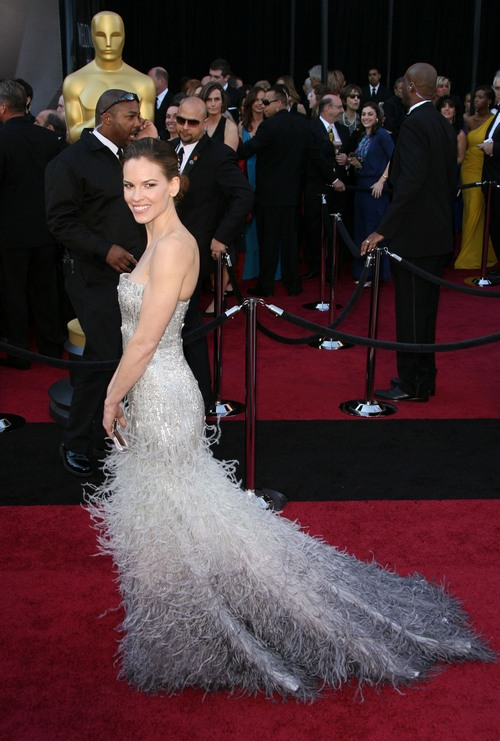 Hilary Swank Gucci gown, white gown,