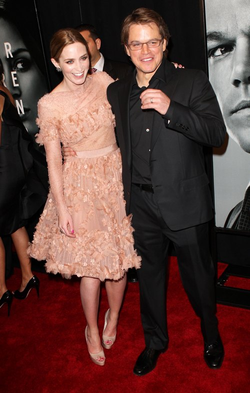 Matt Damon, black suit, Emily Blunt peach dress, nude dress,
