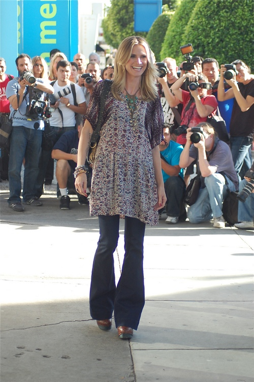 heidi klum, bell bottoms, flared top, print top