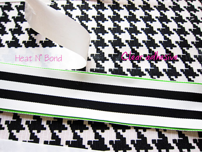 attaching a ribbon to a pillow cover with heat n bond