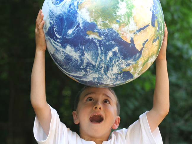 BOY HOLDING THE EARTH