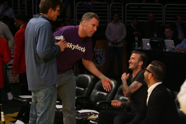 will ferrell purple tshirt, david beckham black tshirt