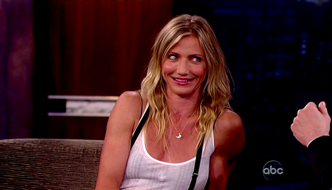 cameron diaz, white tank top, suspenders