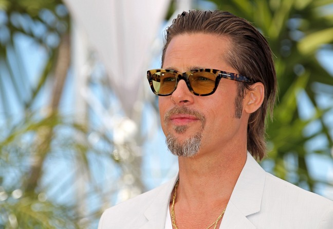 brad pitt tortoise sunglasses, white suit, gray suit, light suit