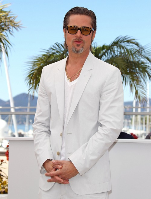 brad pitt, sunglasses, gray suit, light suit, gold chains