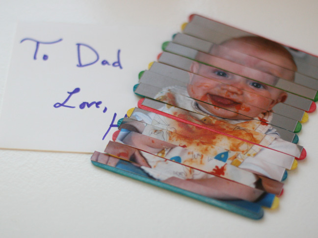 Fathers Day Craft Stick Photo Puzzle
