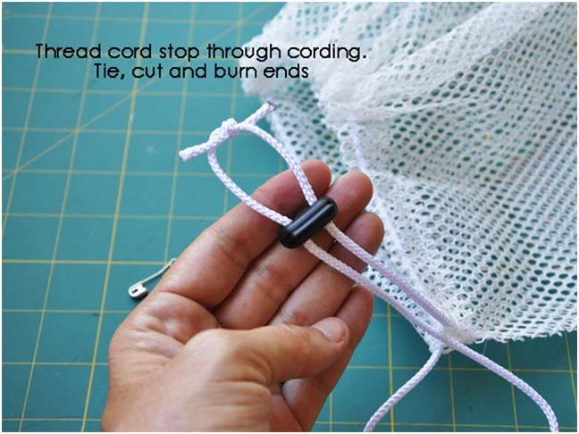 thread cord through mesh bag