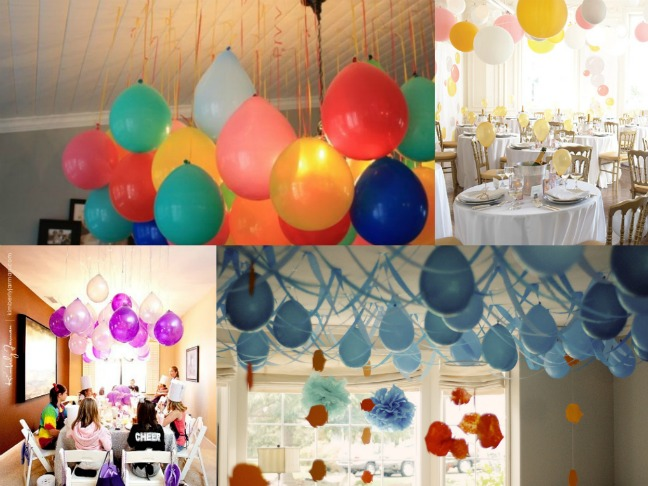 Upside down balloons a fun party twist for Balloon decoration ideas no helium