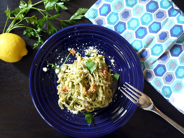 Green Olive Sun-Dried Tomato Pesto