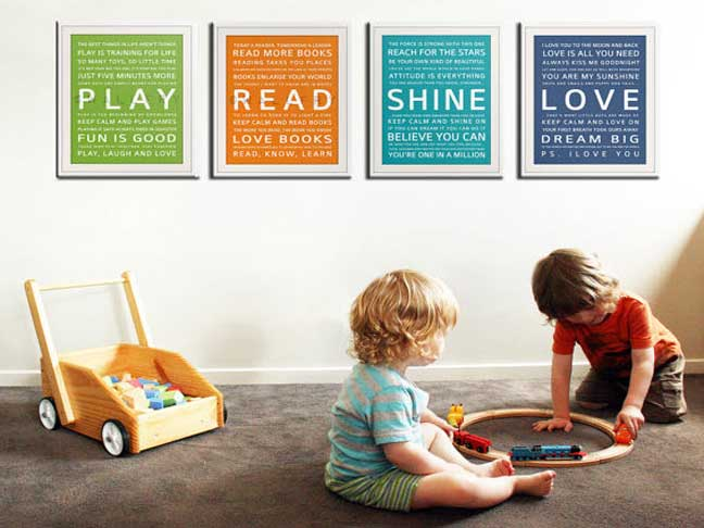 Whether You Re Planning A New Baby Nursery Or Just Looking For Something To Spruce Up The Kid S Playroom This Set Of 4 Typography Prints Might Be