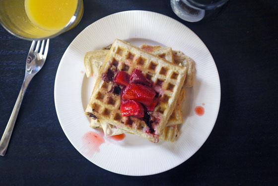 Strawberry Coconut Waffles