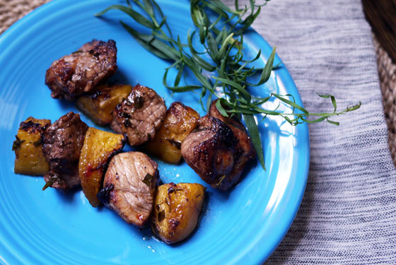 Tarragon Peach and Pork Kabobs Summer Grill Recipe