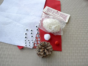 Santa Pinecone Ornament - Materials