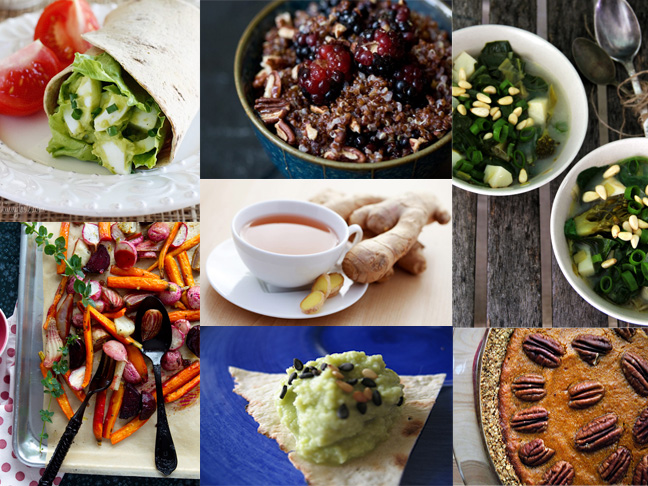 a collage of different detox meals including wraps, acai berry bowl and soups