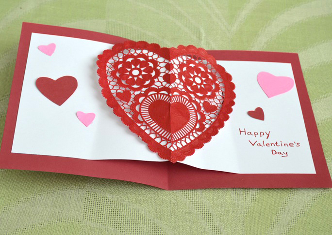 homemade heart pop up card craft