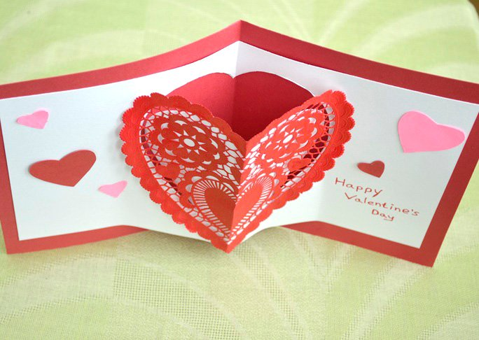 Heart pop up valentines day card craft homemade heart pop up card craft final m4hsunfo