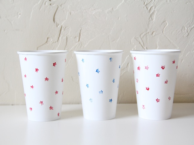 Star Stamped Cups Craft
