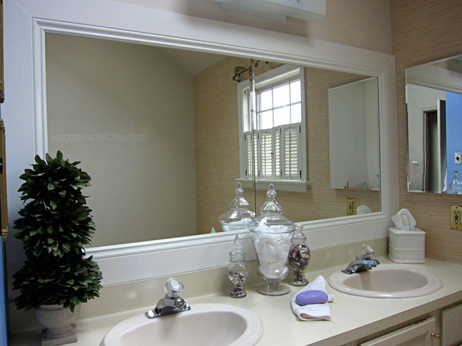 add trim to bathroom mirror