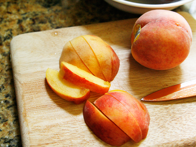 Grilled Peaches and Cream Sundaes Recipe Step 1