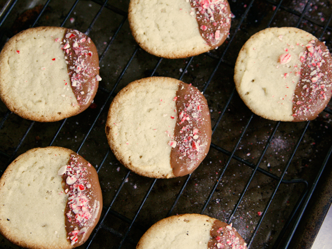 Chocolate Peppermint Sugar Cookies on Cooling Rack