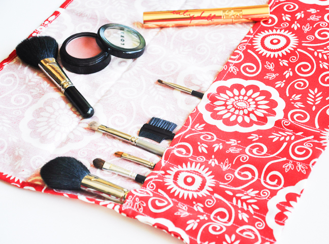 DIY makeup brush roll tutorial