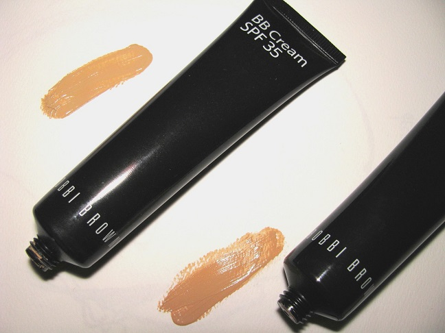 two black tubes and swatches of bobbi browns bb cream with spf 35