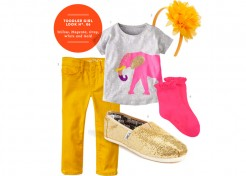 Toddler Girl Style: Yellow, Magenta, Gray, White and Gold